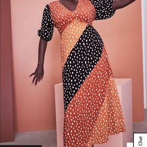 ELOQUII Mixed Dot Maxi Dress Size 28